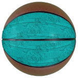 Teal Etched Look Horse Racing Silhouette Basketball