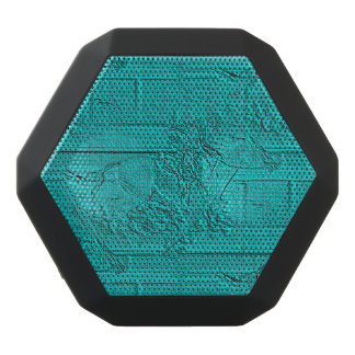 Teal Etched Look Horse Racing Silhouette Black Bluetooth Speaker