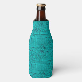 Teal Etched Look Horse Racing Silhouette Bottle Cooler