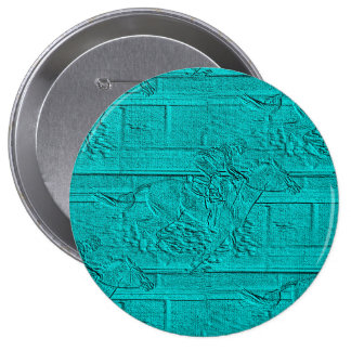 Teal Etched Look Horse Racing Silhouette 4 Inch Round Button