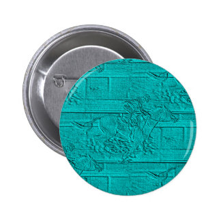Teal Etched Look Horse Racing Silhouette 2 Inch Round Button