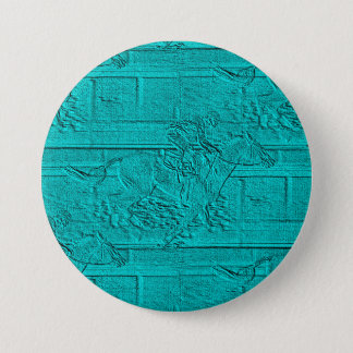 Teal Etched Look Horse Racing Silhouette Button