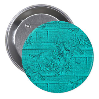 Teal Etched Look Horse Racing Silhouette 3 Inch Round Button