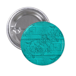 Teal Etched Look Horse Racing Silhouette 1 Inch Round Button