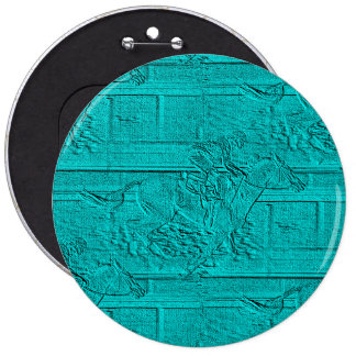 Teal Etched Look Horse Racing Silhouette 6 Inch Round Button