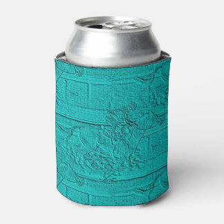 Teal Etched Look Horse Racing Silhouette Can Cooler