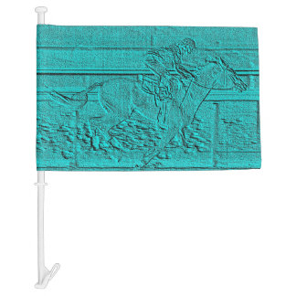 Teal Etched Look Horse Racing Silhouette Car Flag