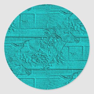 Teal Etched Look Horse Racing Silhouette Classic Round Sticker