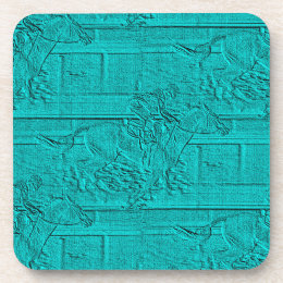 Teal Etched Look Horse Racing Silhouette Coaster