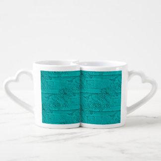 Teal Etched Look Horse Racing Silhouette Coffee Mug Set