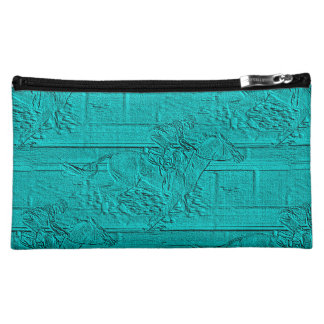 Teal Etched Look Horse Racing Silhouette Cosmetic Bag