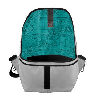 Teal Etched Look Horse Racing Silhouette Courier Bag