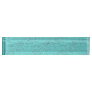 Teal Etched Look Horse Racing Silhouette Desk Name Plate