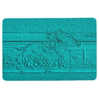 Teal Etched Look Horse Racing Silhouette Floor Mat