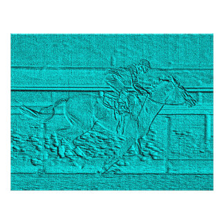 Teal Etched Look Horse Racing Silhouette Flyer