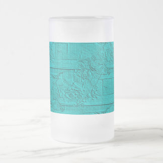 Teal Etched Look Horse Racing Silhouette Frosted Glass Beer Mug