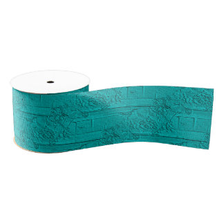 Teal Etched Look Horse Racing Silhouette Grosgrain Ribbon