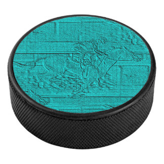 Teal Etched Look Horse Racing Silhouette Hockey Puck