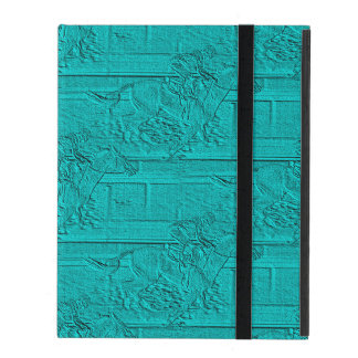 Teal Etched Look Horse Racing Silhouette iPad Cover