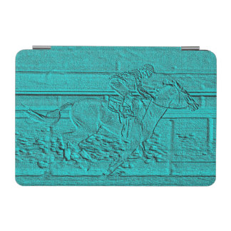 Teal Etched Look Horse Racing Silhouette iPad Mini Cover