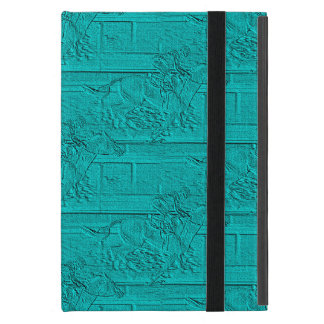Teal Etched Look Horse Racing Silhouette iPad Mini Covers