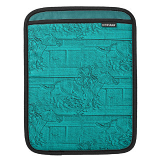 Teal Etched Look Horse Racing Silhouette iPad Sleeve