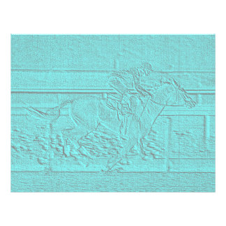 Teal Etched Look Horse Racing Silhouette Letterhead