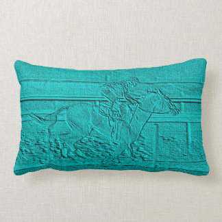Teal Etched Look Horse Racing Silhouette Lumbar Pillow