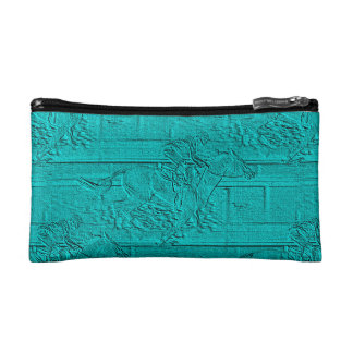 Teal Etched Look Horse Racing Silhouette Makeup Bag