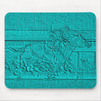 Teal Etched Look Horse Racing Silhouette Mouse Pad