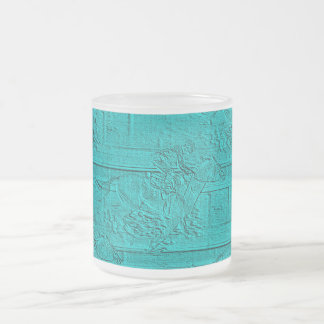 Teal Etched Look Horse Racing Silhouette 10 Oz Frosted Glass Coffee Mug