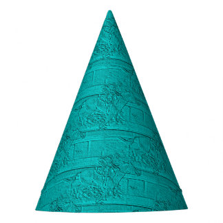 Teal Etched Look Horse Racing Silhouette Party Hat
