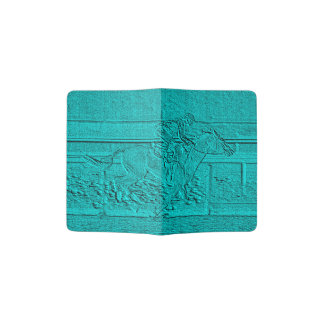 Teal Etched Look Horse Racing Silhouette Passport Holder