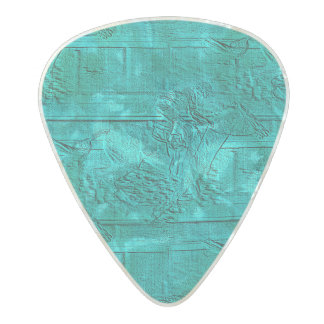Teal Etched Look Horse Racing Silhouette Pearl Celluloid Guitar Pick