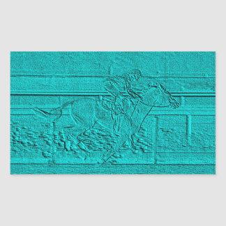 Teal Etched Look Horse Racing Silhouette Rectangular Sticker