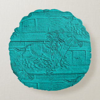 Teal Etched Look Horse Racing Silhouette Round Pillow