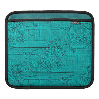 Teal Etched Look Horse Racing Silhouette Sleeves For iPads