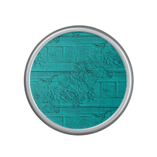Teal Etched Look Horse Racing Silhouette Speaker