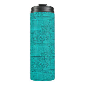 Teal Etched Look Horse Racing Silhouette Thermal Tumbler