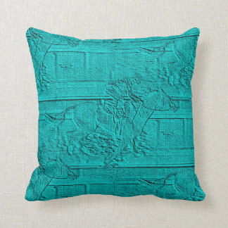 Teal Etched Look Horse Racing Silhouette Throw Pillow