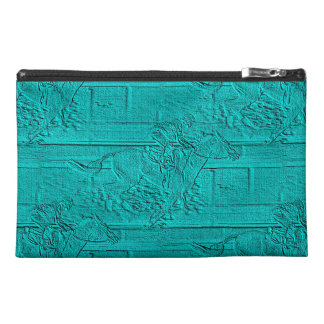 Teal Etched Look Horse Racing Silhouette Travel Accessory Bag