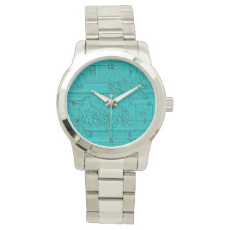Teal Etched Look Horse Racing Silhouette Wrist Watch