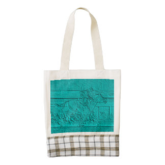 Teal Etched Look Horse Racing Silhouette Zazzle HEART Tote Bag