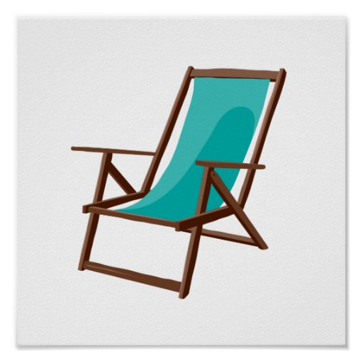 teal fabric beach chair.png posters