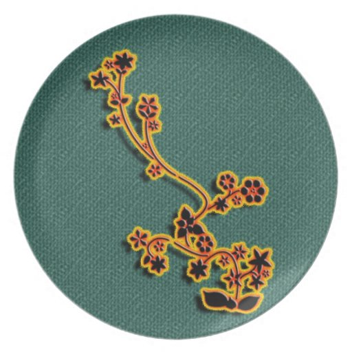 Teal Fabric Floral plate