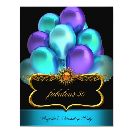 Teal Fabulous Black Gold Balloons Birthday Party Card