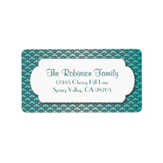 Teal Fan Pattern with White Frame Label