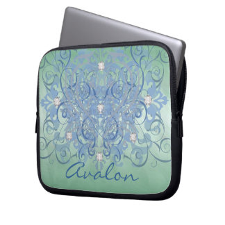 Teal Fantasy Diamond Green Frosted Laptop Sleeve