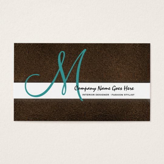 Teal fashion stylist brown suede business card