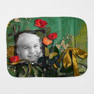 Teal Faux Bois & Orange Poppy Flowers Photo Frame Baby Burp Cloth